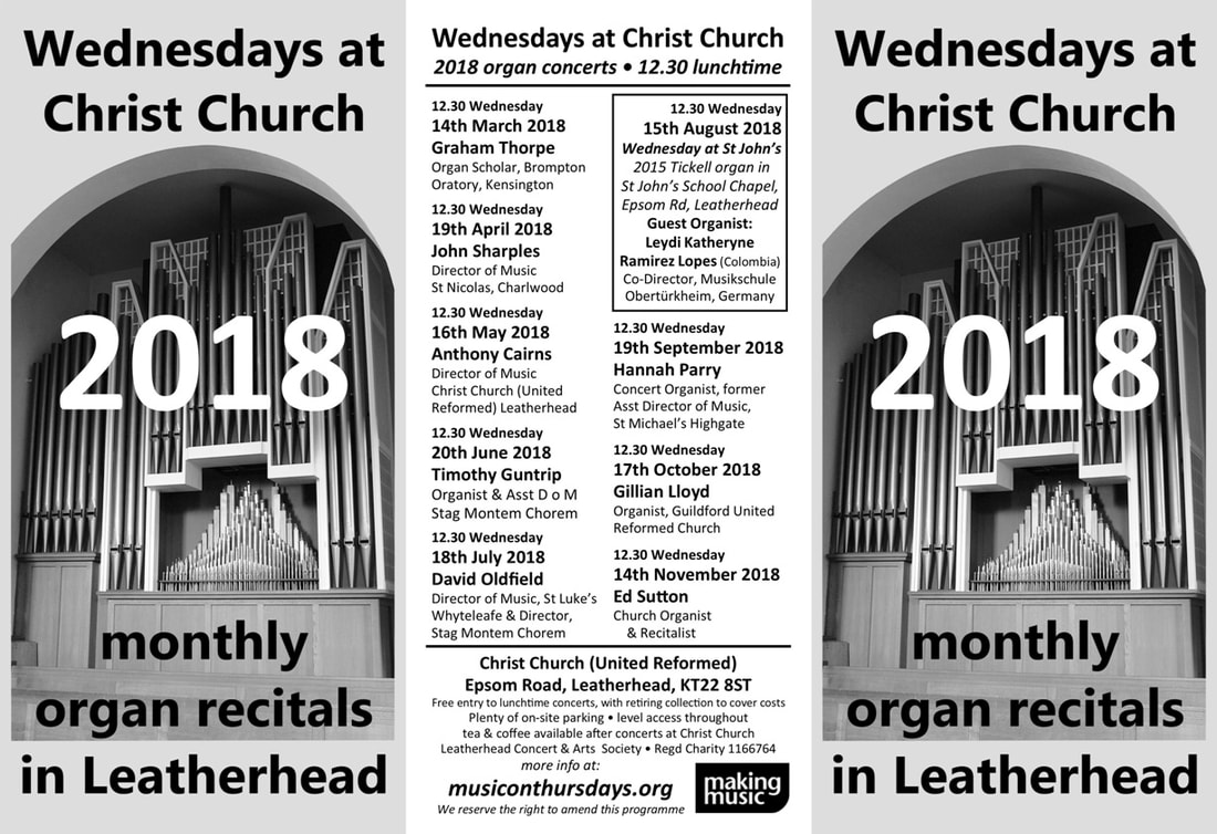 Wednesdays at Christ Church, 12.30 lunchtime, organ recitals, organ concerts, 2017 programme,