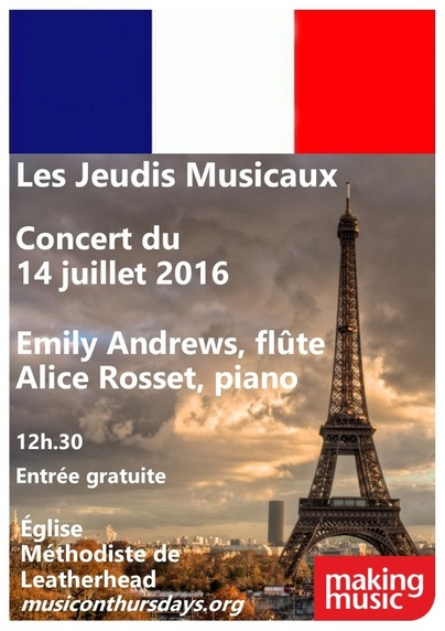 Programme cover for 14th July concert of French music,