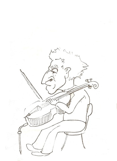 Paul Tortellier cellist sketch by Michael Horsfield