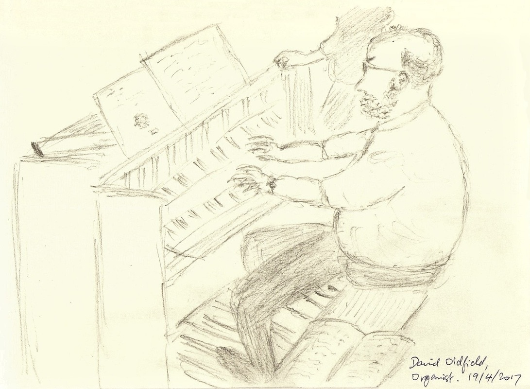David Oldfield, organist, sketched by Peter Horsfield, at Christ Church (United Reformed), Leatherhead, 19th April 2017.