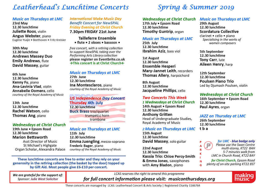 Leatherhead's 12.30 Lunchtime Concerts, Music on Thursdays at LMC, Wednesdays at Christ Church,