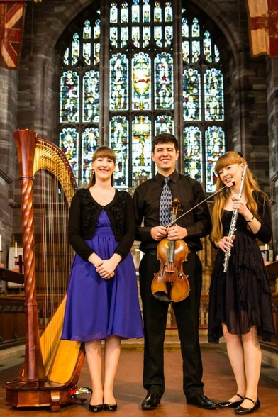 Aurora Trio, Heather Wrighton, harp, Joe Bronstein, viola, Emma Halnan, flute