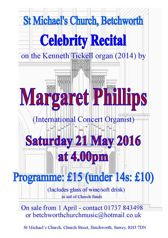 St Michael's Church, Betchworth, Margaret Phillips, organ, organist, 21st May 2016, 4pm, 1600,