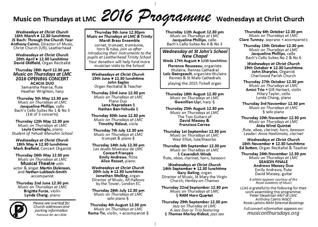 Music on Thursdays, Wednesdays at Christ Church, lunchtime, concerts, Leatherhead, Methodist Church, United Reformed, URC, LMC, concerts, recitals, programme, schedule, 2016, season,