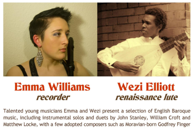 Emma Williams, recorder, Wezi Elliott, renaissance lute,