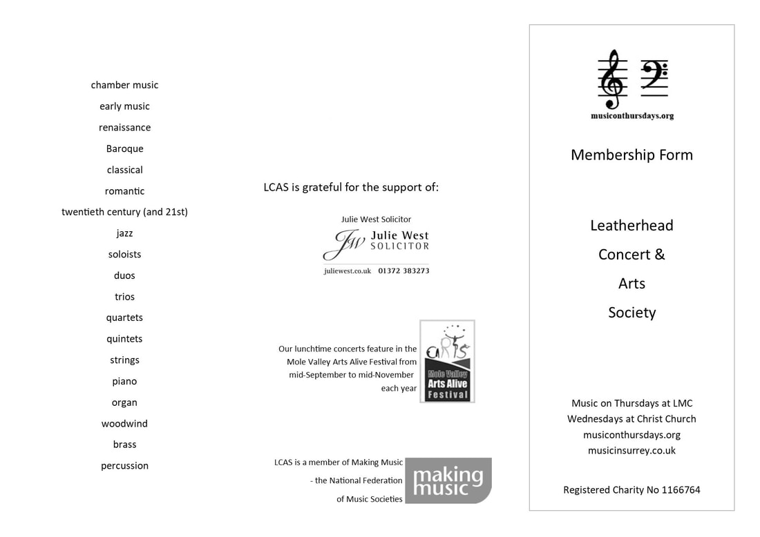 Leatherhead Concert and Arts Society Membership Form
