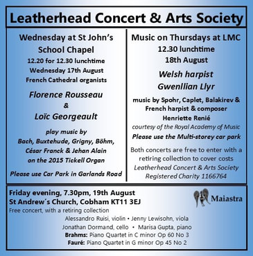 Concert is Leatherhead and Cobham, 17th, 18th, 19th August 2016,